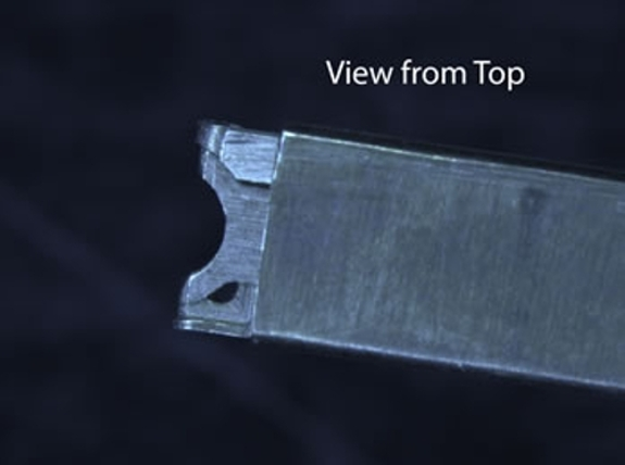 An image of the damaged Gatan 914  Cryo-Tomography holder, specifically showing the view from the top of the holder.