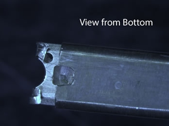 An image of the damaged Gatan 914  Cryo-Tomography holder, specifically showing the view from the bottom of the holder.