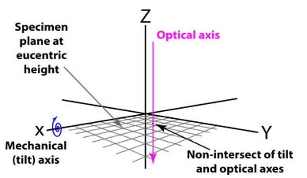Goniometer geometry displaying the specimen plane at eucentric height, the optical axis, the mechanical tilt axis, and the non-intersect of tilt and optical axes.