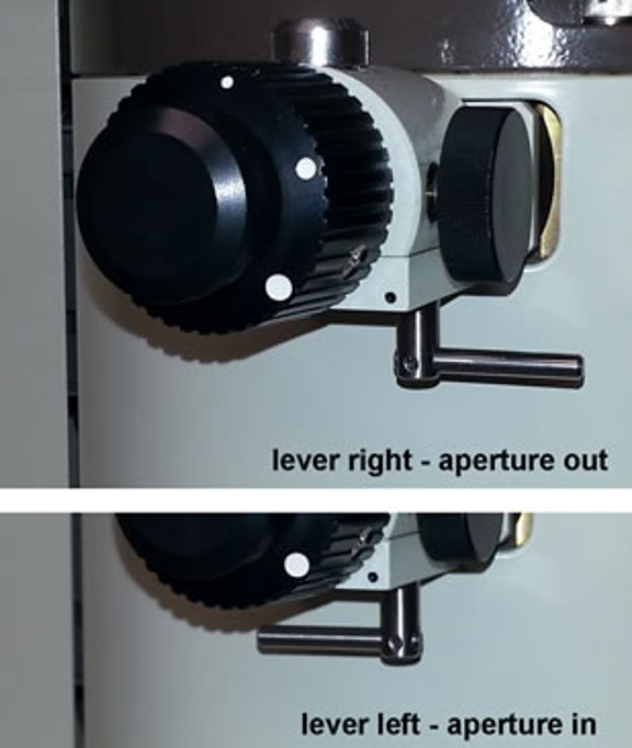 Two different views of the IL (SAA) aperture, showing the position of the lever: when the lever is turned right, the aperture is out - when the lever is turned left, the aperture is in.